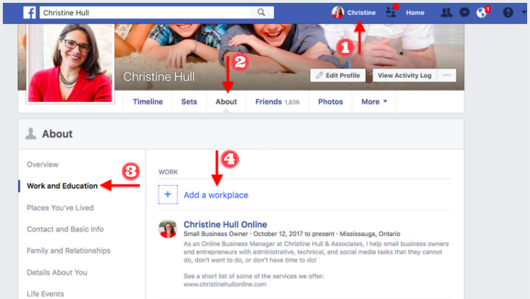 Linking Your Facebook Page from your Personal Profile (Steps 1-4)