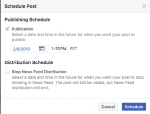 Schedule Post dialog box allows you to choose the date and time to schedule your post.