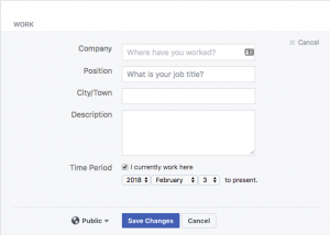 Adding your work details to your Facebook profile.