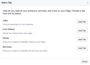 Add the Services Tab to your Facebook Page