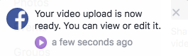 A notification message appears when your slideshow video is ready to be viewed.